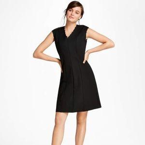 Brooks Brothers Black Scalloped Ponte Knit Dress